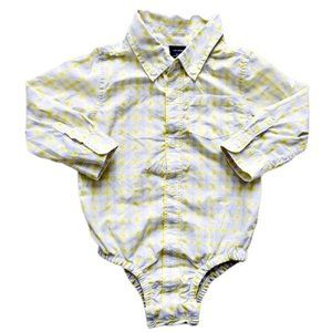Baby Gap Yellow and Beige Plaid Button-Up Onesie